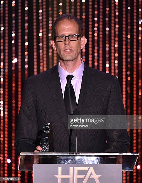 "Honoree Pete Docter accepts the Hollywood Animation Award for ""Inside Out"" onstage during the 19th Annual Hollywood Film Awards at The Beverly Hilton..."