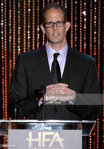 Honoree Pete Docter accepts the Hollywood Animation Award for Inside Out onstage during the 19th Annual Hollywood Film Awards at The Beverly Hilton...
