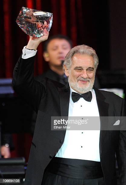 Honoree Placido Domingo speaks onstage during the 2010 Person of the Year honoring Placido Domingo at the Mandalay Bay Events Center inside the...