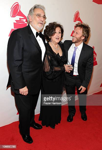 Honoree Placido Domingo, wife Marta Ornelas, and Noel Schajris arrive at the 2010 Person of the Year honoring Placido Domingo at the Mandalay Bay...