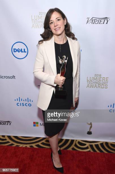 Honoree Poppy Crum Poses with the Distinguished Leadership Award at the Advanced Imaging Society 2018 Lumiere Technology Awards Featuring The...