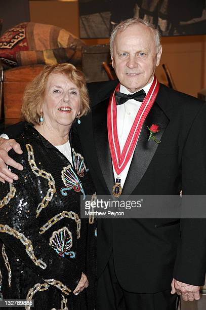 Honoree President Embree Elevators and elevator industry safety consultant James F Comley and wife Virginia attend the Ellis Island Medals of Honor...