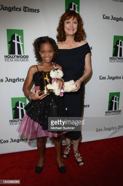 Honoree Quvenzhane Wallis and actress Susan Sarandon pose with the New Hollywood Award backstage at the 16th Annual Hollywood Film Awards Gala...