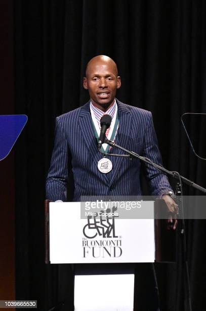 Honoree Ray Allen speaks onstage during the 33rd Annual Great Sports Legends Dinner which raised millions of dollars for the Buoniconti Fund to Cure...