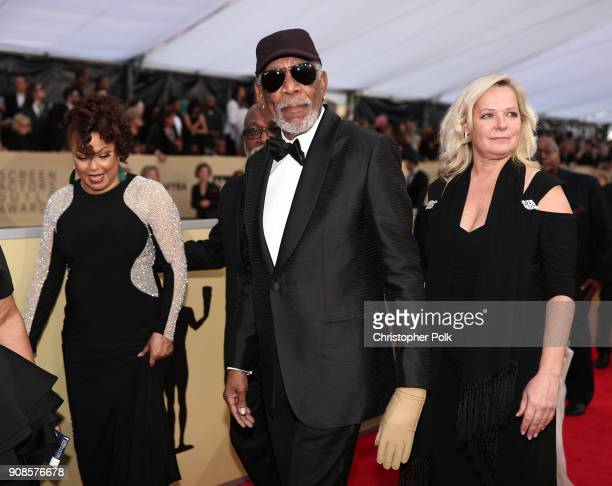 Honoree recipient Morgan Freeman attends the 24th Annual Screen Actors Guild Awards at The Shrine Auditorium on January 21 2018 in Los Angeles...