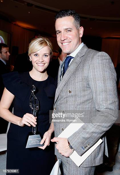 Honoree Reese Witherspoon and actor Jim Toth pose with the Grace Kelly Award during the 7th Annual March of Dimes Celebration of Babies, a Hollywood...