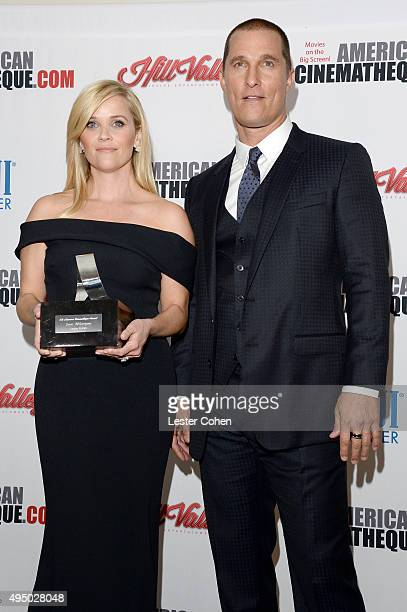 Honoree Reese Witherspoon and actor Matthew McConaughey attend the 29th American Cinematheque Award honoring Reese Witherspoon at the Hyatt Regency...
