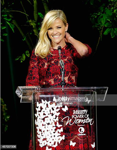 Honoree Reese Witherspoon speaks onstage at 2014 Variety Power of Women presented by Lifetime at Beverly Wilshire Four Seasons on October 10 2014 in...