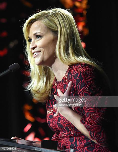 Honoree Reese Witherspoon speaks onstage at the 2014 Variety Power of Women presented by Lifetime at Beverly Wilshire Four Seasons on October 10 2014...