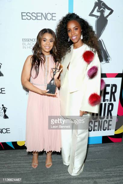 Honoree Regina Hall and Kelly Rowland attend the 2019 Essence Black Women in Hollywood Awards Luncheon at Regent Beverly Wilshire Hotel on February...