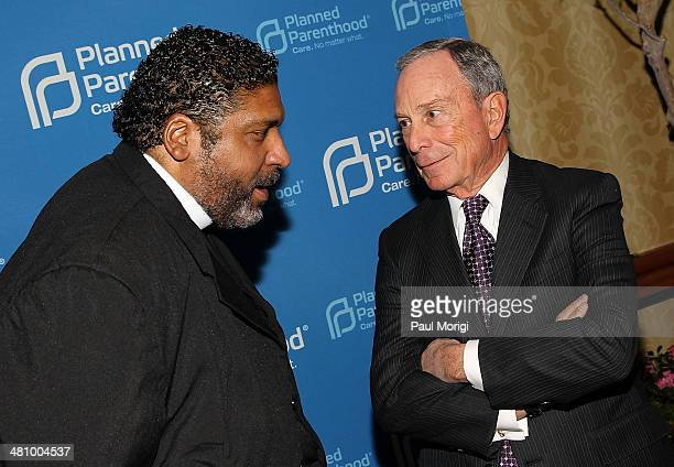 Honoree Rev Dr William Barber talks with former NYC Mayor Michael Bloomberg at the Planned Parenthood Federation Of America's 2014 Gala Awards Dinner...