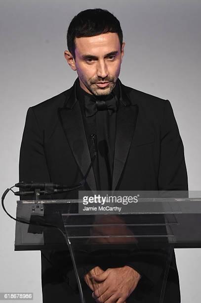 Honoree Riccardo Tisci poses accepts an award at 2016 Fashion Group International Night Of Stars Gala at Cipriani Wall Street on October 27 2016 in...