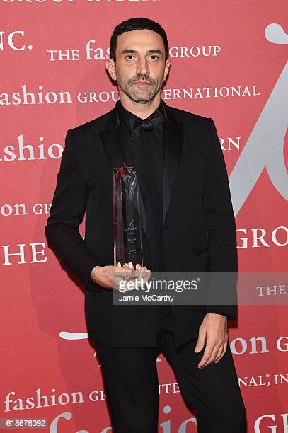 Honoree Riccardo Tisci poses with award at 2016 Fashion Group International Night Of Stars Gala at Cipriani Wall Street on October 27 2016 in New...