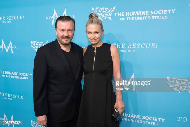 Honoree Ricky Gervais and Jane Fallon attend The Humane Society Of The United States 9th Annual To The Rescue Gala at Cipriani 42nd Street on...