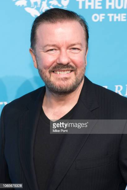Honoree Ricky Gervais attends The Humane Society Of The United States 9th Annual To The Rescue Gala at Cipriani 42nd Street on November 09 2018 in...