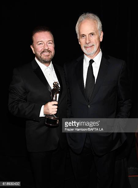 Honoree Ricky Gervais recipient of the Charlie Chaplin Britannia Award for Excellence in Comedy and director/actor Christopher Guest pose duirng the...