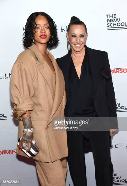 Honoree Rihanna and designer Donna Karan attend the 69th Annual Parsons Benefit at Pier 60 on May 22, 2017 in New York City.