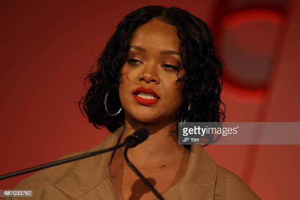Honoree Rihanna makes acceptance remarks on stage during the 69th Annual Parsons Benefit at Pier 60 on May 22, 2017 in New York City.