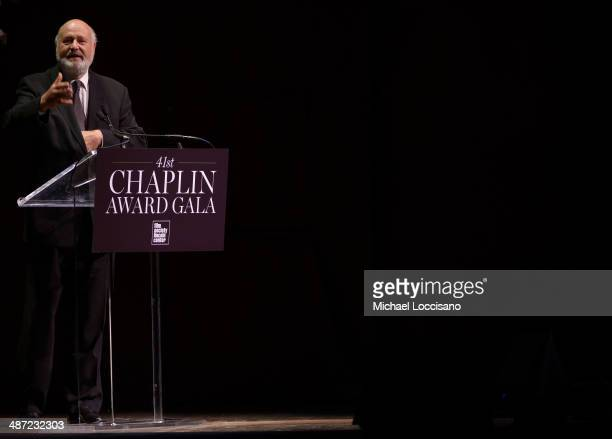 Honoree Rob Reiner speaks onstage at the 41st Annual Chaplin Award Gala at Avery Fisher Hall at Lincoln Center for the Performing Arts on April 28...
