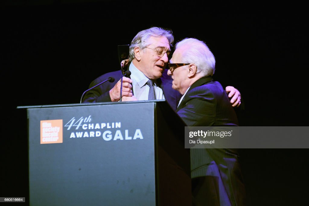 Honoree Robert De Niro (L) and Director Martin Scorsese speak onstage during the 44th Chaplin Award Gala at David H. Koch Theater at Lincoln Center on May 8, 2017 in New York City.
