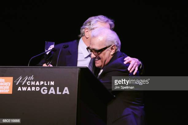 Honoree Robert De Niro and Director Martin Scorsese speak onstage during the 44th Chaplin Award Gala at David H Koch Theater at Lincoln Center on May...