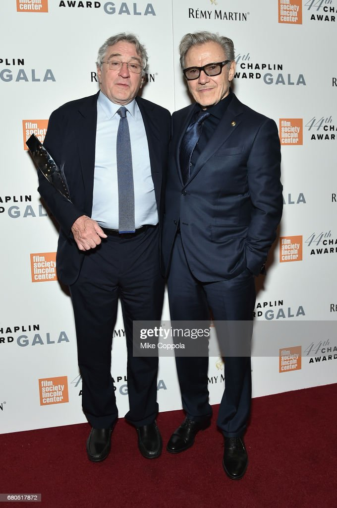 Honoree Robert De Niro (L) and Harvey Keitel backstage during the 44th Chaplin Award Gala at David H. Koch Theater at Lincoln Center on May 8, 2017 in New York City.