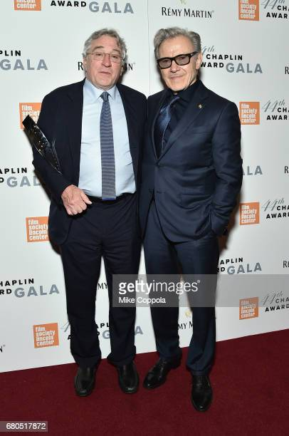 Honoree Robert De Niro and Harvey Keitel backstage during the 44th Chaplin Award Gala at David H Koch Theater at Lincoln Center on May 8 2017 in New...