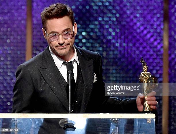 Honoree Robert Downey Jr. Accepts the Stanley Kubrick Britannia Award for Excellence in Film onstage during the BAFTA Los Angeles Jaguar Britannia...