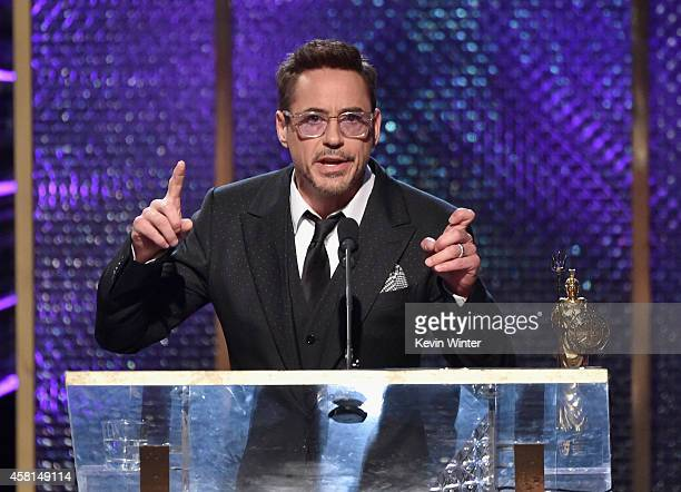 Honoree Robert Downey Jr accepts the Stanley Kubrick Britannia Award for Excellence in Film onstage during the BAFTA Los Angeles Jaguar Britannia...