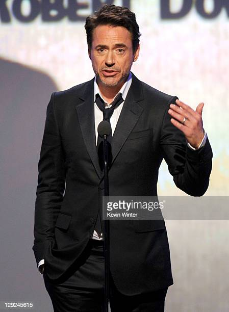 Honoree Robert Downey Jr speaks onstage during The 25th American Cinematheque Award Honoring Robert Downey Jr held at The Beverly Hilton hotel on...