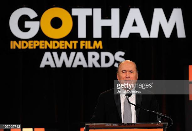 Honoree Robert Duvall speaks onstage at IFP's 20th Annual Gotham Independent Film Awards at Cipriani Wall Street on November 29 2010 in New York City