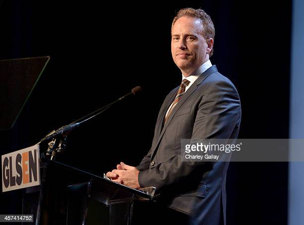 Honoree Robert Greenblatt accepts the GLSEN Respect Chairman's Award onstage at the 10th annual GLSEN Respect Awards at the Regent Beverly Wilshire...