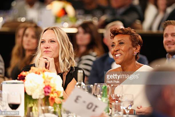 Honoree Robin Roberts and Amber Laign speaks onstage at Point Foundation's Point Honors gala at The Beverly Hilton Hotel on October 1 2016 in Beverly...