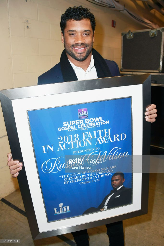 Honoree Russell Wilson, recipient of the 2018 Faith in Action Award, at BET Presents 19th Annual Super Bowl Gospel Celebration at Bethel University on February 1, 2018 in St Paul, Minnesota.