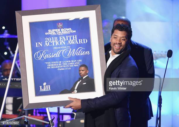 Honoree Russell Wilson recipient of the 2018 Faith in Action Award onstage during BET Presents 19th Annual Super Bowl Gospel Celebration at Bethel...