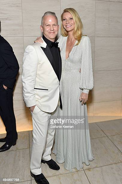 Honoree Ryan Murphy and actress Gwyneth Paltrow wearing Harry Winston at amfAR's Inspiration Gala Los Angeles at Milk Studios on October 29 2015 in...