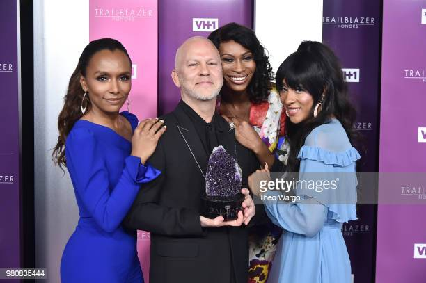 Honoree Ryan Murphy poses with Janet Mock Dominique Jackson and Mj Rodriguez during VH1 Trailblazer Honors 2018 at The Cathedral of St John the...