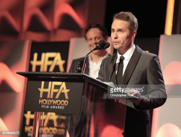 Honoree Sam Rockwell accepts the Hollywood Supporting Actor Award for 'Three Billboards Outside Ebbing Missouri' onstage during the 21st Annual...