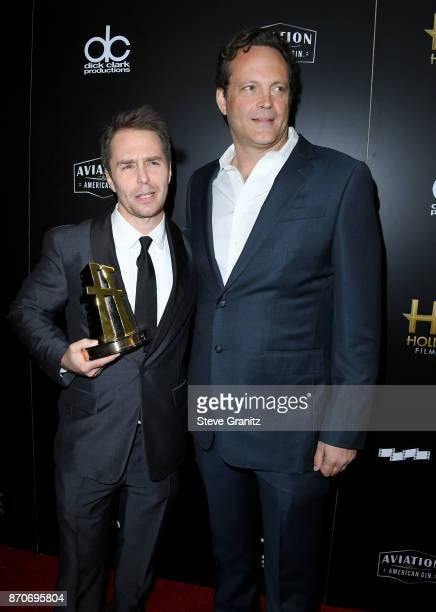 Honoree Sam Rockwell recipient of the Hollywood Supporting Actor Award for 'Three Billboards Outside Ebbing Missouri' poses with actor Vince Vaughn...