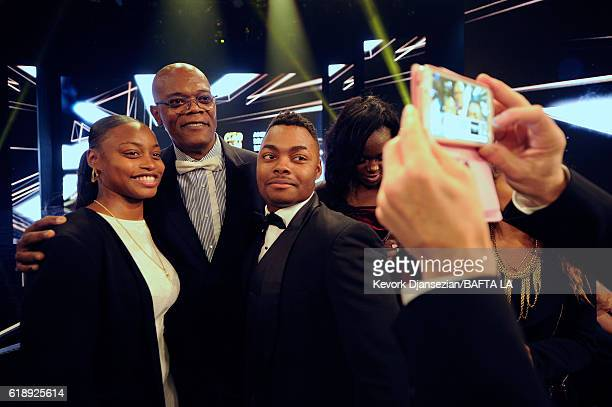 Honoree Samuel L Jackson poses with students from George Washington Preparatory High School during the 2016 AMD British Academy Britannia Awards...