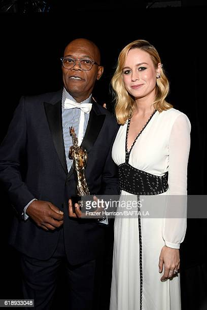 Honoree Samuel L Jackson recipient of the Albert R Broccoli Britannia Award for Worldwide Contribution to Entertainment and actress Brie Larson...