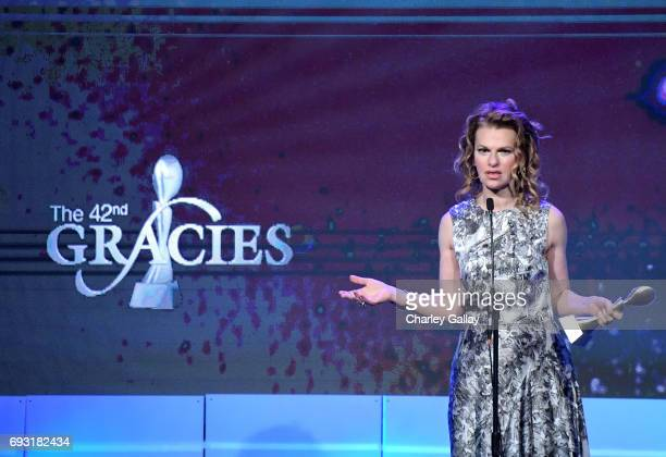 Honoree Sandra Bernhard accepts award onstage during the 42nd Annual Gracie Awards hosted by The Alliance for Women in Media at the Beverly Wilshire...