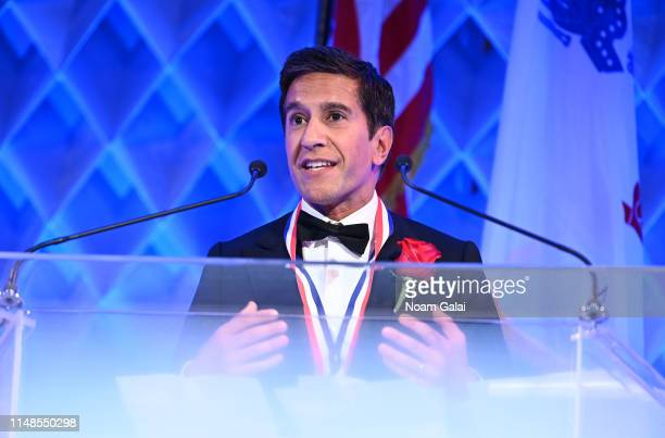 Honoree Sanjay Gupta speaks on stage during the 34th Annual Ellis Island Medals Of Honor Ceremony hosted by EIHS at Ellis Island on May 11 2019 in...