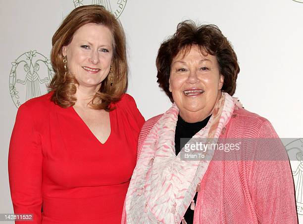 Honoree Sarah Brown and Melinda Wayne Munoz attends Women's Guild of CedarsSinai annual spring luncheon at Beverly Hills Hotel on April 12 2012 in...