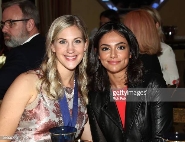 Honoree Sarah Cronk and Bethany Mota attend the 2018 World of Children Hero Awards Benefit at Montage Beverly Hills on April 19 2018 in Beverly Hills...