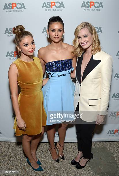 Honoree Sarah Hyland actress Nina Dobrev and honoree Beth Behrs attend ASPCA's Los Angeles Benefit on October 20 2016 in Bel Air California