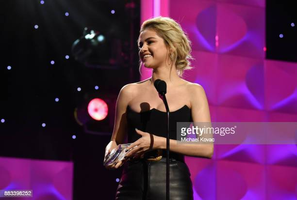 Honoree Selena Gomez Accepts the Woman of the Year Award onstage at Billboard Women In Music 2017 at The Ray Dolby Ballroom at Hollywood Highland...