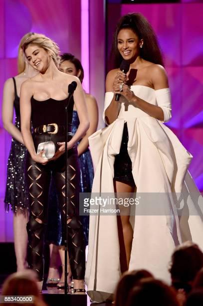 Honoree Selena Gomez and host Ciara onstage at Billboard Women In Music 2017 at The Ray Dolby Ballroom at Hollywood Highland Center on November 30...