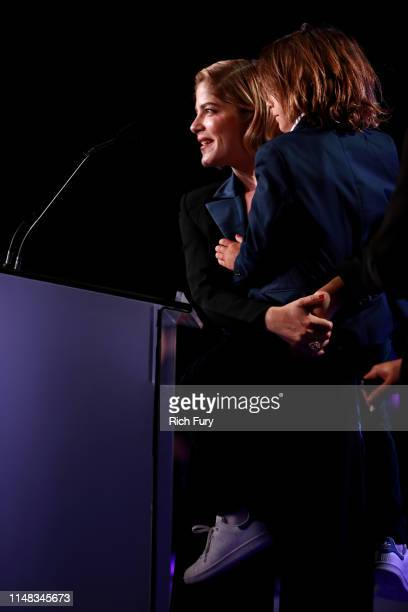 Honoree Selma Blair and Arthur Saint Bleick speak onstage during the 26th annual Race to Erase MS on May 10, 2019 in Beverly Hills, California.