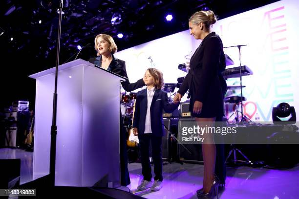 Honoree Selma Blair, Arthur Saint Bleick and Sarah Michelle Gellar speak onstage during the 26th annual Race to Erase MS on May 10, 2019 in Beverly...